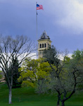 UTAH. USA. Historic Old Main building & Old Main Hill. Utah State University, Logan.