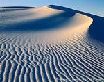 WHITE SANDS NATIONAL MONUMENT, NEW MEXICO. USA. Gypsum dune at sunset. Heart of the Dunes.