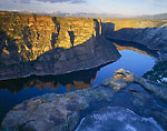 FLAMING GORGE NATIONAL RECREATION AREA, UTAH. USA. View of Flaming Gorge Reservoir & Red Canyon at sunset.