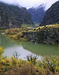 DINOSAUR NATIONAL MONUMENT, COLORADO. USA. Green River at Gates of Lodore in autumn. 