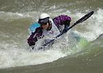 UTAH. USA. Kayaker competing in whitewater rodeo on Weber River. Weber River Kayak Festival.