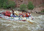 DINOSAUR NATIONAL MONUMENT, COLORADO. USA. Raft in Warm Springs Rapids. Yampa River.