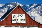"COVE, UTAH. USA. ""Allen's Seed Grain"". Barn below Bear River Range. Cache Valley."