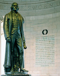 WASHINGTON, D.C. USA. Thomas Jefferson Memorial. Statue of Thomas Jefferson & words from Declaration of Independence. National Mall.