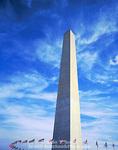 WASHINGTON, D.C. USA. Washington Monument below cirrus clouds. National Mall.