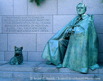 WASHINGTON, D.C. USA. Franklin Delano Roosevelt Memorial. Statues of Franklin Roosevelt & his dog Fala. National Mall.