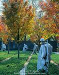 WASHINGTON, D.C. USA. Korean War Veterans Memorial. Statues of soldiers on patrol. National Mall.