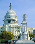 WASHINGTON, D.C. USA. National Capitol Building & Seamen & Marines Memorial.