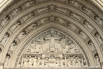 WASHINGTON, D.C. USA. Sculpted tympanum above entrance to National Cathedral.