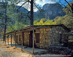 GUADALUPE MOUNTAINS NATIONAL PARK, TEXAS. USA. Old cowboy line camp cabin. McKittrick Canyon.  Guadalupe Mountains.
