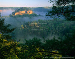 KENTUCKY. USA. Fog at sunrise, Red River Gorge. Daniel Boone National Forest.