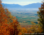 UTAH. USA. Cache Valley in autumn. View from Maple Bench, foothills of Wellsville Mountains. Wasatch-Cache National Forest.