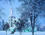 LOGAN, UTAH. USA. LDS (Mormon) Tabernacle in winter at dusk.