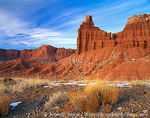 CAPITOL REEF NATIONAL PARK, UTAH. USA. Brush below Chimney Rock in winter. Moenkopi Formation of Triassic Age.