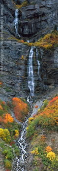 UTAH. USA. Bridal Veil Falls in autumn. Provo Canyon. Wasatch Mountains. UInta National Forest.