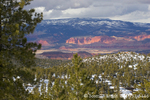 UTAH. USA. View of Fremont River Valley & Thousand Lake Mountain from north slope of Boulder Mountain in winter. Dixie National Forest.