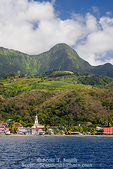 MARTINIQUE. French Antilles. West Indies. Pitons du Carbet rise above town of Le Carbet.