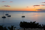 MARTINIQUE. French Antilles. West Indies. View of sunset & Caribbean Sea from historic fort overlooking harbor at St. Pierre.