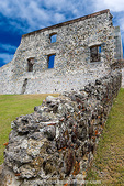 "MARTINIQUE. French Antilles. West Indies. Ruins at Chateau Dubuc on the Caravelle Peninsula. The ""Dubuc Castle"" was first noted on maps of Martinique in 1773. Ostensibly a site of sugar production, the real business at the chateau was the smuggling and transport of slaves."