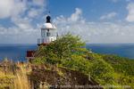 MARTINIQUE. French Antilles. West Indies. Caravelle Lighthouse above Atlantic Ocean on Caravelle Peninsula. Réserve Naturelle de la Caravelle.