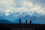 DENALI NATIONAL PARK & PRESERVE, ALASKA. USA. Hikers & the Alaska Range.