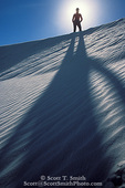 WHITE SANDS NATIONAL MONUMENT, NEW MEXICO. USA. Woman hiker silhouetted on dune crest.