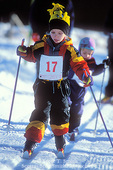 """UTAH. USA. Young girl competitor in nordic ski """"race"""". Bryce Canyon Winter Fest at Ruby's Inn. Near Bryce Canyon National Park."""
