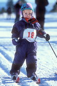 """UTAH. USA. Very young competitor in nordic ski """"race"""". Bryce Canyon Winter Fest at Ruby's Inn. Near Bryce Canyon National Park."""
