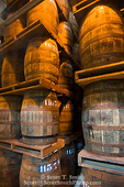 MARTINIQUE. French Antilles. West Indies. St. Pierre. Oak aging barrels full of rum. Depaz rum distillery.