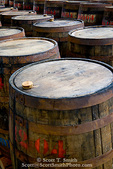 MARTINIQUE. French Antilles. West Indies. St. Pierre. Oak aging barrels ready to be filled with rum. Depaz rum distillery.