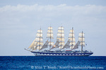 MARTINIQUE. French Antilles. West Indies. Sailing cruise ship of Star Clippers line under sail in waters off Martinique.