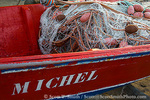 MARTINIQUE. French Antilles. West Indies. Detail of fishing boat with nets on beach at Anse Dufour.