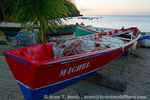 MARTINIQUE. French Antilles. West Indies. Fishing boat with nets on beach at Anse Dufour.