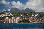 MARTINIQUE. French Antilles. West Indies. City of Fort-de-France below Pitons du Carbet & cumulus clouds.