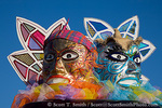 MARTINIQUE. French Antilles. West Indies. Fort-de-France. Giant model masks on truck during Canival parade.