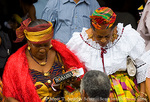 MARTINIQUE. French Antilles. West Indies. Fort-de-France. Martiniquan women in traditional dress leave mass at St. Louis Cathedral.