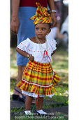 MARTINIQUE. French Antilles. West Indies. Fort-de-France. Young Martiniquan girl dressed up for Carnival.