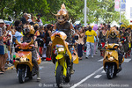 MARTINIQUE. French Antilles. West Indies. Fort-de-France. Costumed motorcyclists in parade during Carnival.