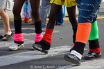 MARTINIQUE. French Antilles. West Indies. Fort-de-France. Knitted leg warmers are de rigeur apparel for young Martiniquans during Carnival.