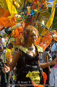 MARTINIQUE. French Antilles. West Indies. Fort-de-France. Young woman in elaborate costume in parade during Carnival.