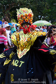 MARTINIQUE. French Antilles. West Indies. Fort-de-France. Elaborately costumed particpant in parade during Carnival.