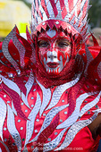 MARTINIQUE. French Antilles. West Indies. Fort-de-France. Elaborately costumed woman in parade during Carnival.