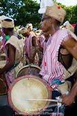 MARTINIQUE. French Antilles. West Indies. Fort-de-France. Costumed drum group in parade during Carnival.