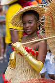 MARTINIQUE. French Antilles. West Indies. Fort-de-France. Girl in elaborate wicker dress in parade during Carnival.