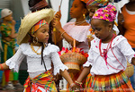 MARTINIQUE. French Antilles. West Indies. Fort-de-France. Young girls in traditional dress in parade during Carnival.