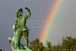 MARTINIQUE. French Antilles. West Indies. Fort-de-France. Rainbow & statue of Pierre Belain d'Esnambuc, founder of first French colony on Martinique. La Savanne park.