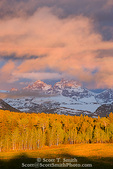 IDAHO. USA. Light of sunset on forest of aspen & lodgepole pine trees below clouds of clearing storm & Grand Teton & other peaks of the Cathedral Group of the Teton Range. Teton Valley.