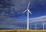 OREGON. USA. Wind farm near Condon. Wind turbines owned by Bonneville Power Admin. 197 foot towers; 155 foot diameter rotors. 83 turbines produce 50 MW peak.