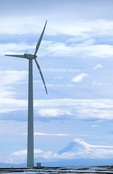 OREGON. USA. Wind farm near Condon. Wind turbines owned by Bonneville Power Administration. Mt. Hood in distance.