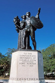 CHARLESTON, SOUTH CAROLINA. Statue in White Point Gardens overlooking Charleston Harbor.